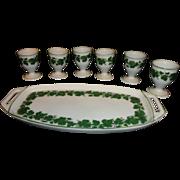 19th Century Heinrich Baensch Lettin 6 Eggcups & Underplate Ivy Vine Pattern