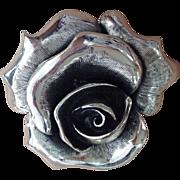 Tortolani Brush Nickel Flower/Rose Pin/Brooch