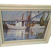 Texas Artist Hal Warnick Original Oil on Canvas of Ship/Water Scene