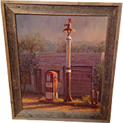 Texas Artist Hal Warnick Framed Original Oil on Canvas of Primitive Gas Station Scene