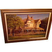 "Texas Artist Hal Warnick Framed Original Oil on Canvas titled ""Small Town Patriarch"""