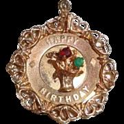 Vintage 14K Gold Happy Birthday Charm 3.7 grams