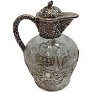 19th Century Sterling Silver Hinged Syrup Pitcher with Etched Glass