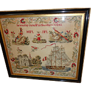 Wedding Sampler Sewed by Jane McArthur Barr 1843