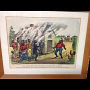 Currier & Ives No 13 The Darktown Fire Brigade Investigating a Smoke original