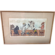 Signed Boris O'Klein (1893-1985) Private Bar Lithograph/colored etching