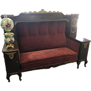 Ca 1880s hall/brothel/entry bench with side displays and locking cabinets on queen ann cabriole legs