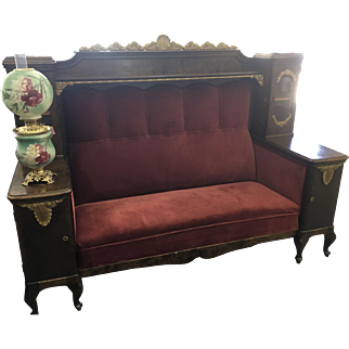 Ca 1880s Hall/Brothel/Entry/Train Car Bench Side with Displays & Locking Cabinets
