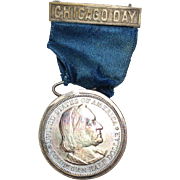 Worlds Columbian Expo 1893 Chicago Day Badge/Medal Half Dollar Blue Ribbon