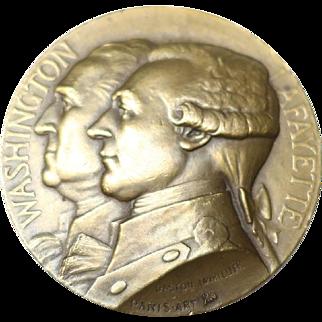 1927 French Washington Lafayette Bronze Medal Gastone Lavrillier Paris-Art Foundary