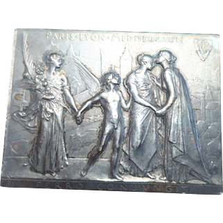 Paris Lyon Meditereanee solid silver plaque/medal by Roty,1901: Railways (Maier 108)