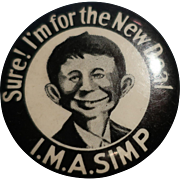 I.M.A. Simp Anti New Deal Pinback/Pin/Button Willkie FDR Cartoon Mad Magazine Super Rare