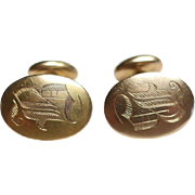 Pair of Vintage 14k Gold Cufflinks 9.7 grams Monogrammed B