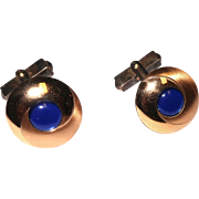 Gold Filled Swank Blue & Gold Cufflinks