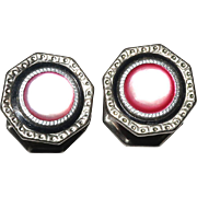 Snap Link Vintage Cufflinks Pink Mother of Pearl