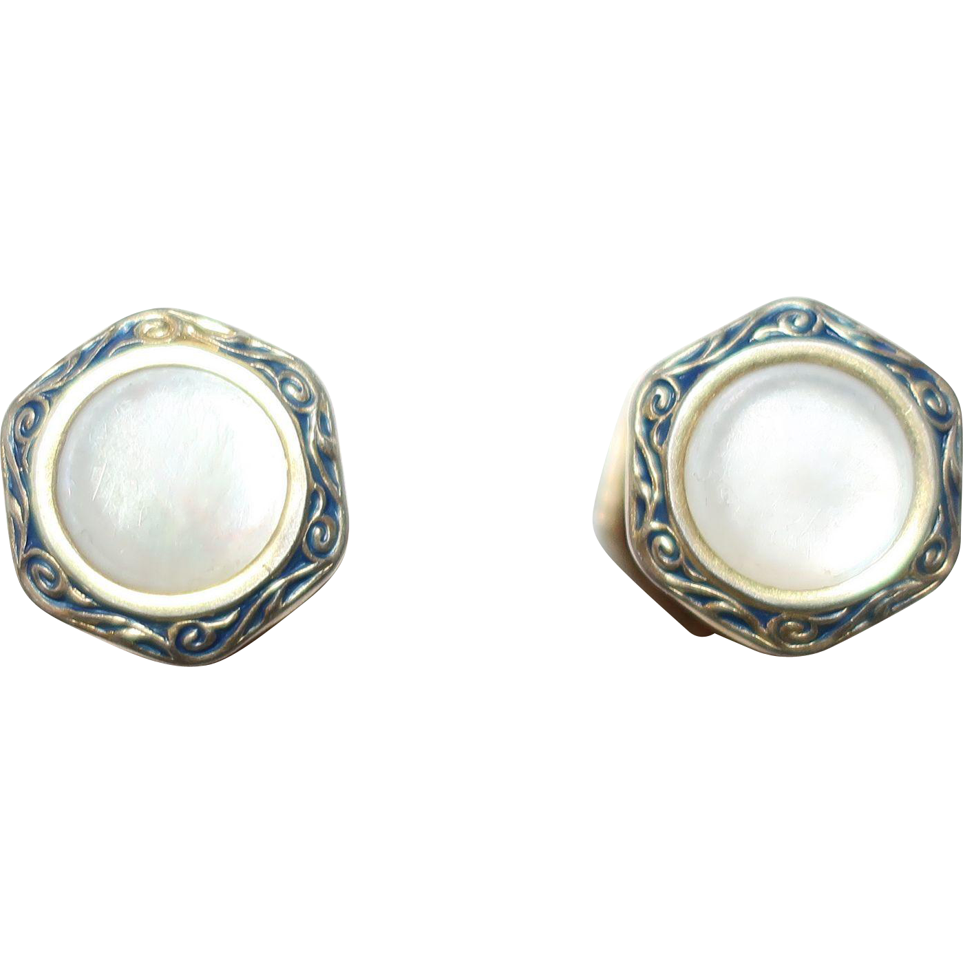 B&W Co Pat'd 1923 Kum-A-Part Cufflinks White Mother of Pearl Style Stone