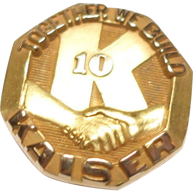 14K Gold Kaiser Mexico Refractories Co  10 Years Service Pin