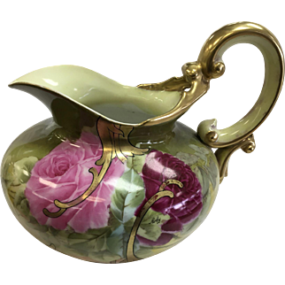 Limoges France Antique Victorian Roses Cider/Lemonade Pitcher Hand Painted Roses Signed Roby Circa 1892-1907 Tressemann and Vogt