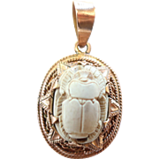 Egyptian Revival 12k Gold Scarab/Beetle Pendant Marked on Bail and Pendant