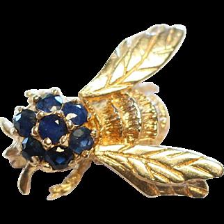 Vintage 14k Gold Sapphire Bee Pendant/Brooch