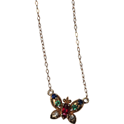 Sweet 14k Gold Butterfly Necklace Sapphires Rubies Diamonds Emeralds