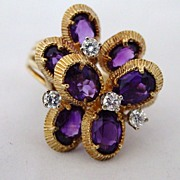 Custom Made 18k Gold 8 Amethyst & Diamond Ring