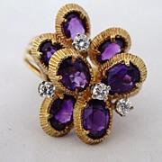 Custom Made 18k Gold 8 Amethyst & Diamond Ring