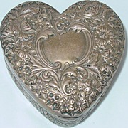 Howard & Co. Sterling Silver Large Repousse Heart Box