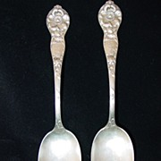 2 Sterling Silver Serving Spoons Mechanics Sterling Co. Wild Rose
