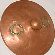 19th Century Copper Lid with Brass Leaf Decor