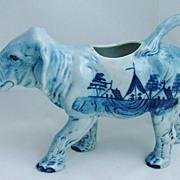 **RARE**  Blue & White Porcelain Hand Painted Elephant Creamer