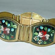 Made in France Hand Painted Floral Enamel Bracelet
