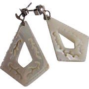 Vintage Mother of Pearl Beautifully Carved Pierced Dangling Earrings