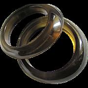 Vintage Bakelite Prystal Twin Smokey Olive/Gold Bangles