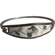 Vintage Mexican Silver & Inlaid Mother of Pearl & Abalone Clamper Bracelet
