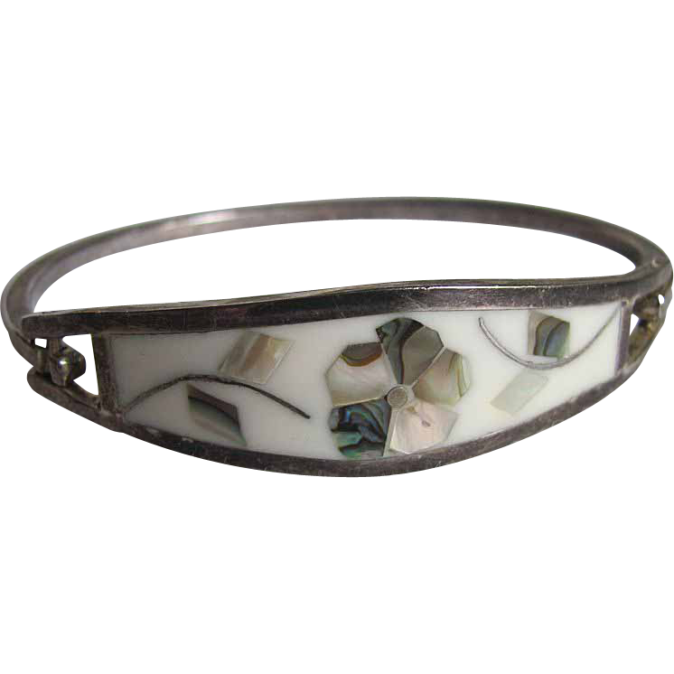 Vintage Mexican Inlaid Mother of Pearl & Abalone Clamper Bracelet