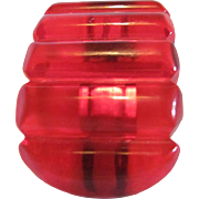 Art Deco Cherry Juice Red Prystal Bakelite Carved Curved Dress Clip