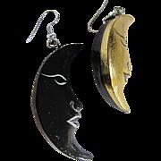 Vintage Man in the Moon Wood Pierced Earrings