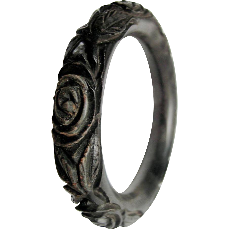 Antique  Victorian Carved & Dyed Oak Bog RARE Tube Bangle Mourning Jewelry
