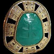 Vintage Unsigned Hattie Carnegie Faux Jade Lucite Pendant/ Brooch