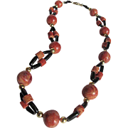 Vintage 1970's  Apple Coral & Black Coral Bead Necklace