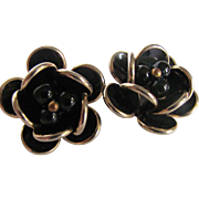 Mid Century Black Lucite Flower Motif Clip Earrings