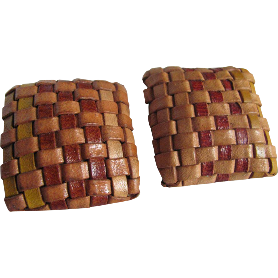1970's Braided Leather Square Pierced Earrings