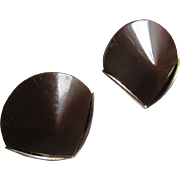 Vintage MODERNIST Chocolate Bakelite Cone shaped Chrome Clip Earrings