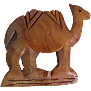 Vintage Hand Carved Olive Wood Camel Brooch