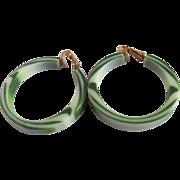 Vintage Green Swirl Lucite Open Hoop Clip Earrings