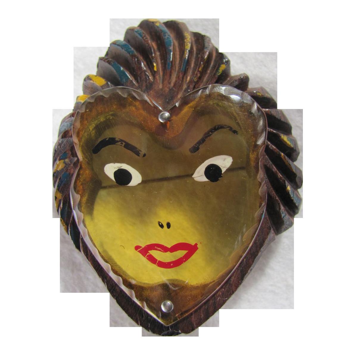 Art Deco Applejuice Bakelite Lady Face in Carved Wood Frame--Book Piece