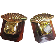 80's Retro Style Faux Glass Topaz & Tortoiseshell Lucite Clip Earrings