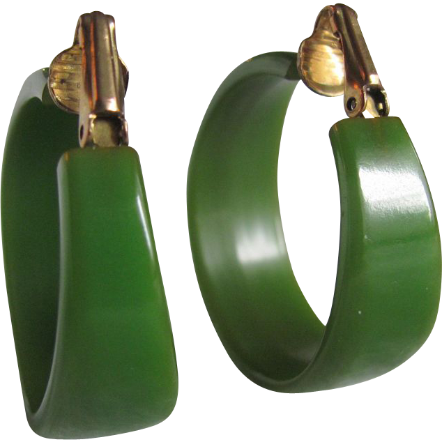 Art Deco Large Hoop Green Bakelite Clip earrings