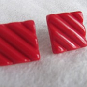Mid Century Modernist Red Lucite Square Classic Clip Earrings